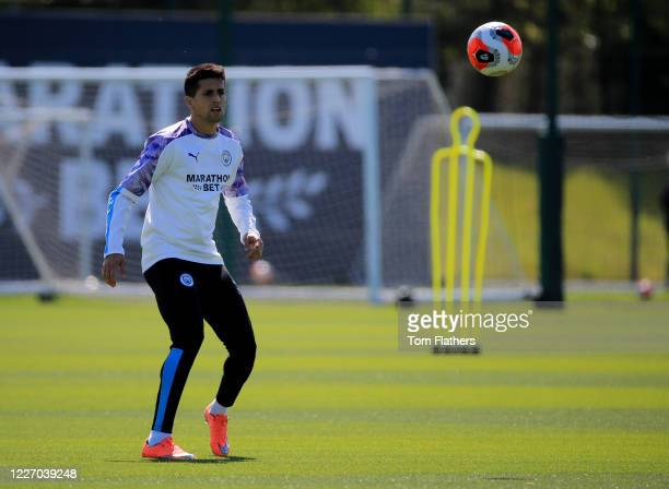 Manchester City's Jaoa Cancelo in action during training at Manchester City Football Academy on May 25 2020 in Manchester England
