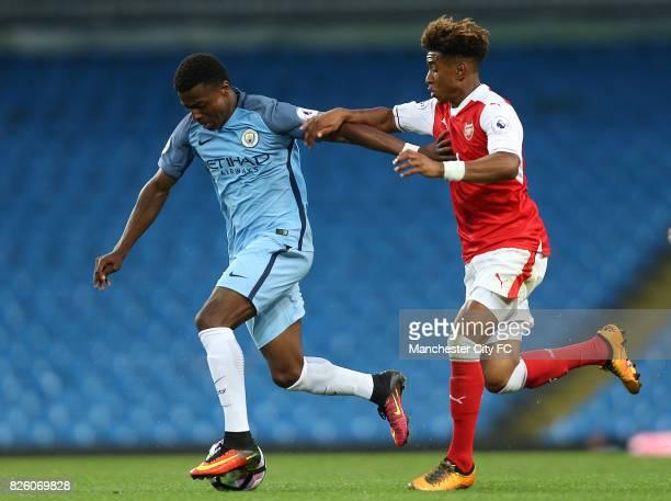 Manchester City's Javairo Dilrosun and Arsenal's Chiori Johnson
