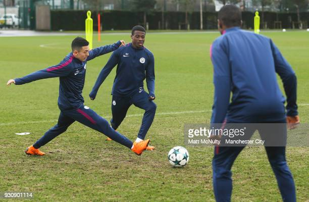 Manchester City's Javairo Dilrosun and Ian Carlo Poveda during training at Manchester City Football Academy on March 12 2018 in Manchester England