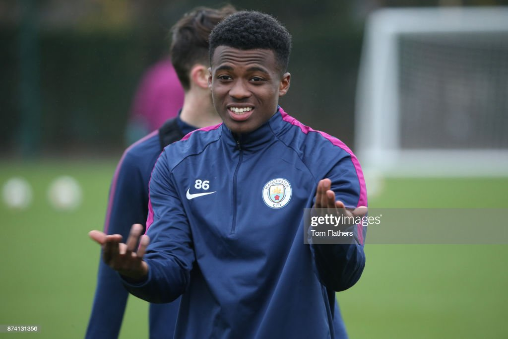 Manchester City's Javairo Dilrosun during training at Manchester City Football Academy on November 14, 2017 in Manchester, England.
