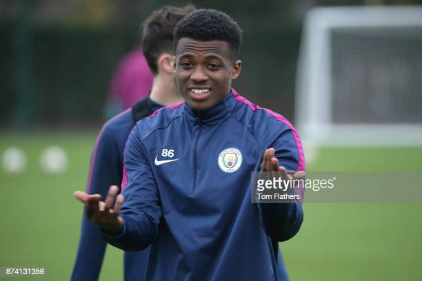 Manchester City's Javairo Dilrosun during training at Manchester City Football Academy on November 14 2017 in Manchester England