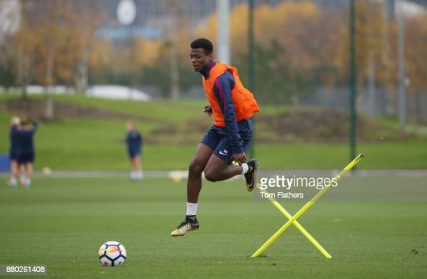 Manchester City's Javairo Dilrosun during training at Manchester City Football Academy on November 27 2017 in Manchester England