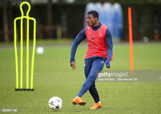 Manchester City's Javairo Dilrosun during training at Manchester City Football Academy on March 12 2018 in Manchester England