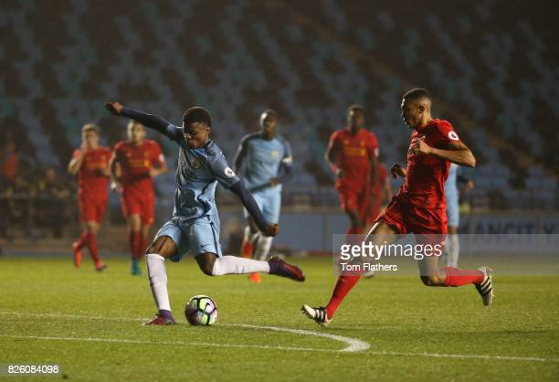 Manchester City's Javairo Dilrosun in action against Liverpool
