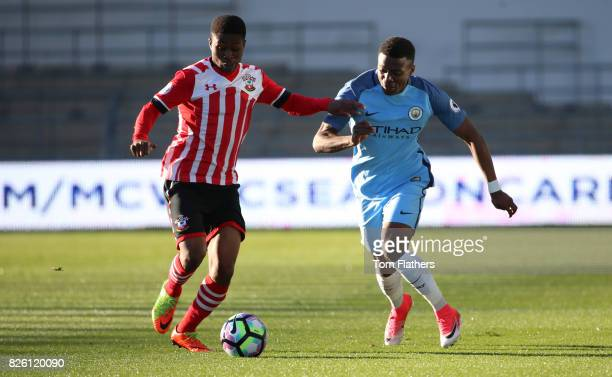 Manchester City's Javairo Dilrosun in action against Southampton
