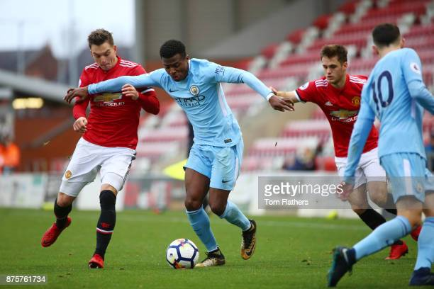 Manchester City's Javairo Dilrosun in action during the Premier League 2 match between Manchester United v Manchester City at Leigh Sports Village on...