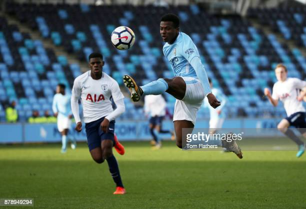 Manchester City's Javairo Dilrosun in action during the Premier League 2 match between Manchester City and Tottenham Hotspur at Manchester City...