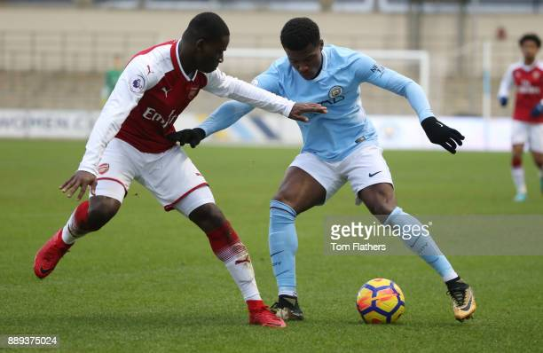 Manchester City's Javairo Dilrosun in action during the Premier League 2 match between Manchester City EDS and Arsenal U23 at Academy Stadium on...