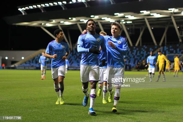Manchester City's Jayden Braaf celebrates scoring to make it 20 in action during the FA Youth Cup match between Manchester City and Swansea City at...