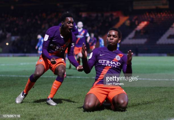 Manchester City's Jayden Braaf celebrates scoring to make it 23 at Spotland Stadium during the Checkatrade Trophy Third Round between Rochdale and...