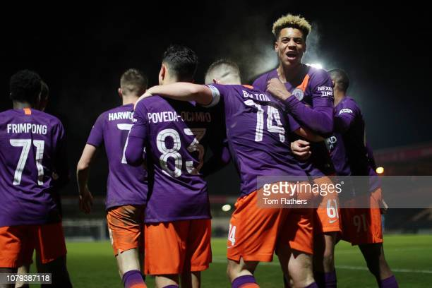 Manchester City's Jayden Braaf celebrates with teammates after scoring to make it 23 at Spotland Stadium during the Checkatrade Trophy Third Round...