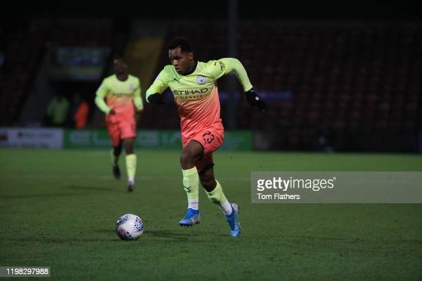 Manchester City's Jayden Braaf in action during the Leasingcom Trophy Third Round between Scunthorpe United and Manchester City U23 at Glanford Park...