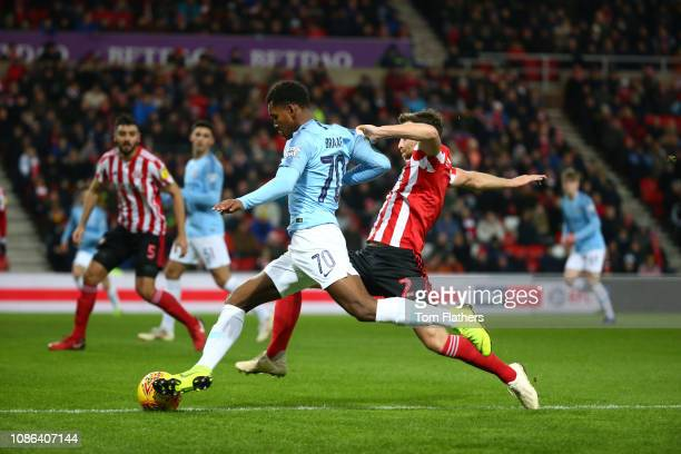 Manchester City's Jayden Braaf in action during the Sunderland v Manchester City U21 Checkatrade Trophy match at Stadium of Light on January 22 2019...