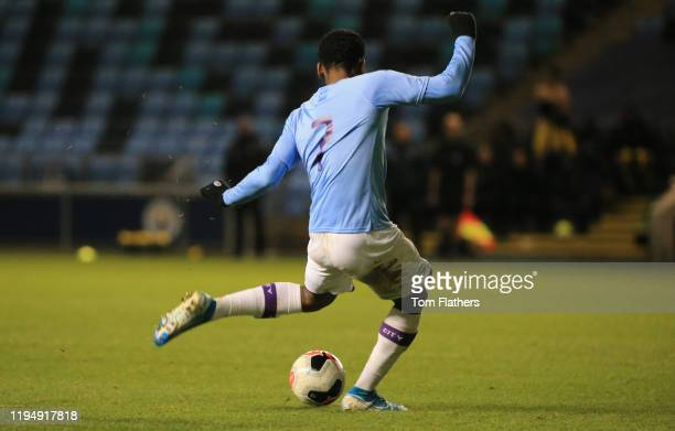 Manchester City's Jayden Braaf scores to make it 20 in action during the FA Youth Cup match between Manchester City and Swansea City at Manchester...