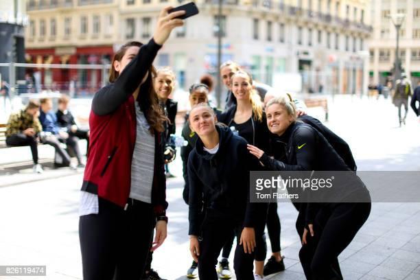 Manchester City's Jennifer Beatie Carli Lloyd Georgia Stanway Demi Stokes Kosovare Asllani Jill Scott Ellie Roebuck and Steph Houghton in Lyon