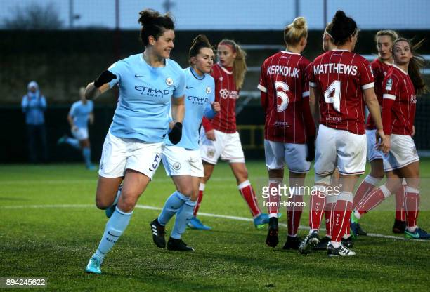 Manchester City's Jennifer Beatie celebrates scoring to make it 20 during the FA WSL Continental Tyres Cup Quarter Final between Bristol City Ladies...