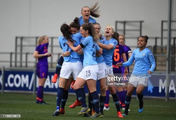 Manchester City's Jennifer Beattie celebrates scoring to make it 2-1 during WSL match between Manchester City Women and Liverpool Women at Manchester...