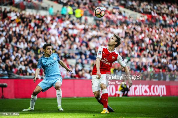 Manchester City's Jesus Navas in action against Arsenal in the FA Cup Semi Final