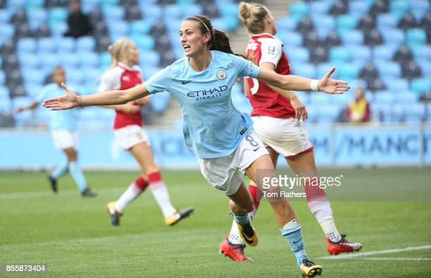 Manchester City's Jill Scott celebrates after scoring to make it 50 during the WSL 1 match between Manchester City Women and Arsenal Ladies at...