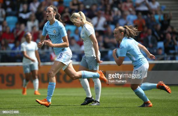 Manchester City's Jill Scott celebrates scoring to make it 10 during the WSL match between Manchester City Women and Everton Ladies at The Academy...