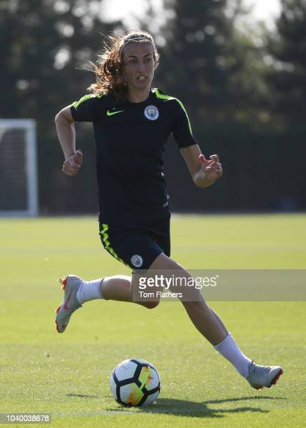 Manchester City's Jill Scott during training at Manchester City Football Academy on September 25 2018 in Manchester England