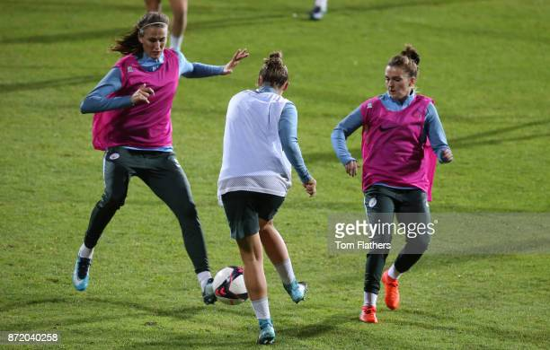 Manchester City's Jill Scott Georgia Stanway and Mel Lawley during training on November 8 2017 at Arasen Stadion Norway