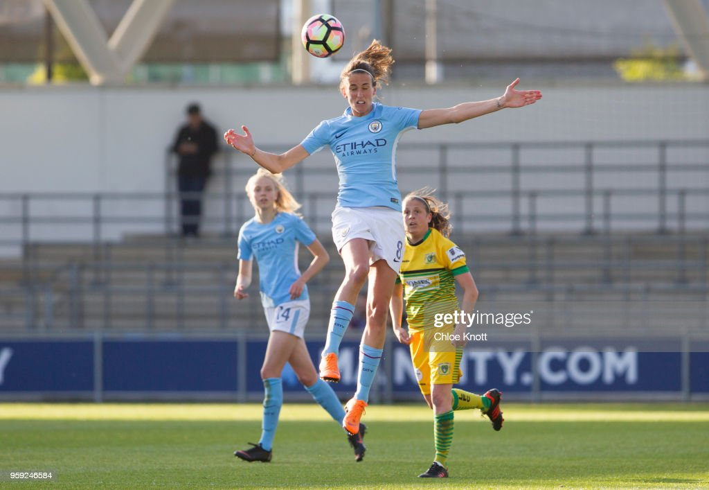 Manchester City's Jill Scott in action during the FA WSL match between Manchester City Women and Yeovil Town Ladies at The Academy Stadium on May 16, 2018 in Manchester, England.