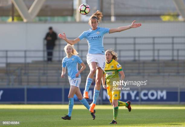 Manchester City's Jill Scott in action during the FA WSL match between Manchester City Women and Yeovil Town Ladies at The Academy Stadium on May 16...