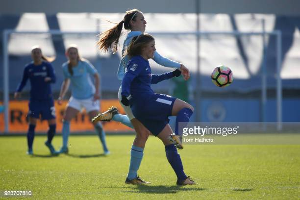 Manchester City's Jill Scott in action during the WSL 1 match between Manchester City Women and Chelsea Ladies at Manchester City Football Academy on...