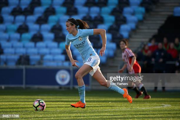 Manchester City's Jill Scott in action during the WSL fixture between Manchester City Women and Sunderland Ladies at The Academy Stadium on April 18...