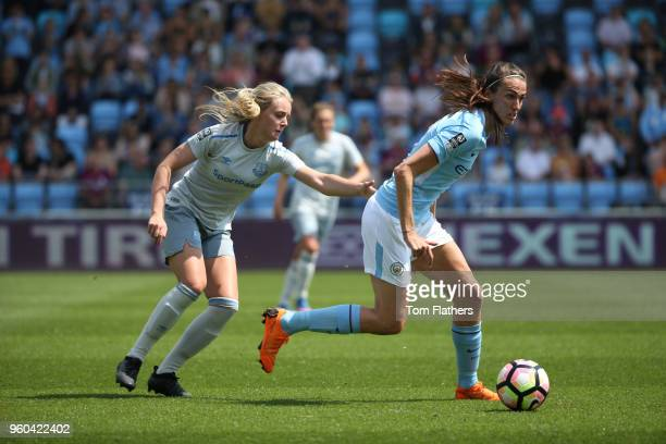 Manchester City's Jill Scott in action during the WSL match between Manchester City Women and Everton Ladies at The Academy Stadium on May 20 2018 in...