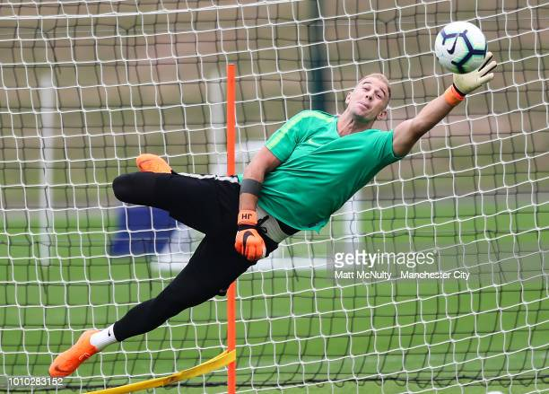 Manchester City's Joe Hart during training at Manchester City Football Academy on August 3 2018 in Manchester England