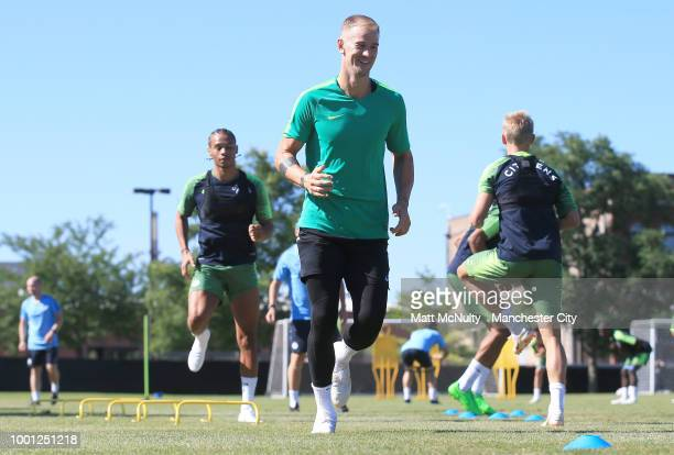 Manchester City's Joe Hart during training at University of Illinois on July 18 2018 in Chicago Illinois