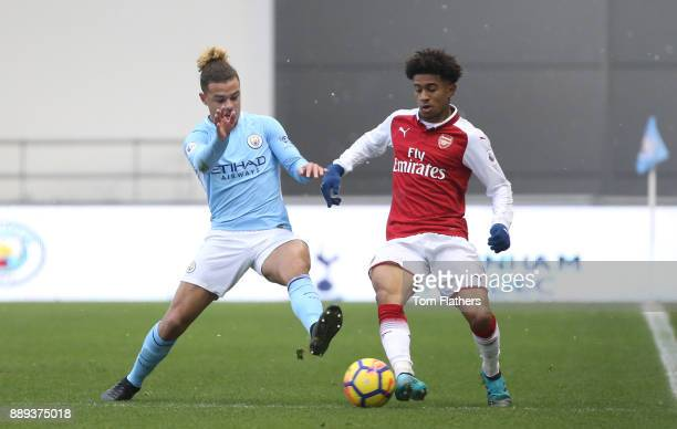 Manchester City's Joel Latibeaudiere during the Premier League 2 match between Manchester City EDS and Arsenal U23 at Academy Stadium on December 10...