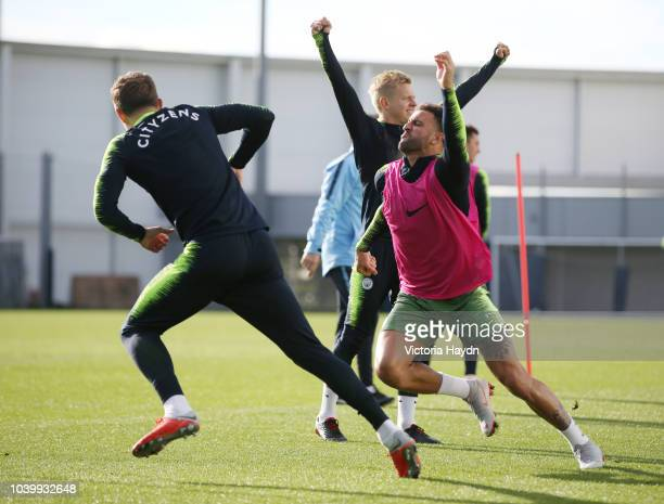 Manchester City's John Stones and Kyle Walker in action at Manchester City Football Academy on September 24 2018 in Manchester England