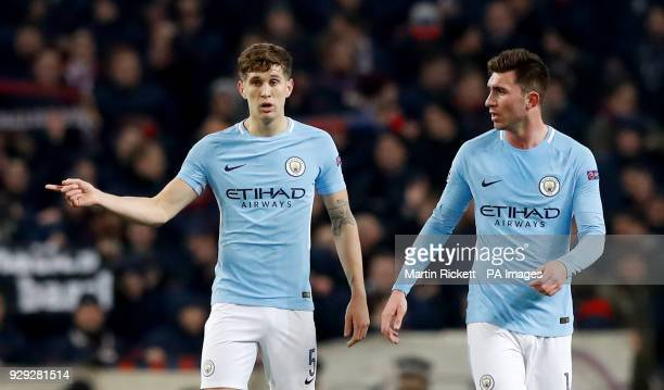 Manchester City's John Stones and Manchester City's Aymeric Laporte