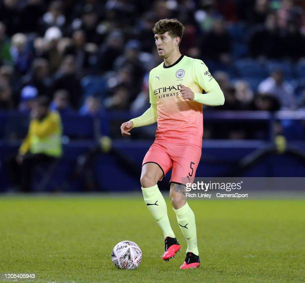 Manchester City's John Stones during the FA Cup Fifth Round match between Sheffield Wednesday and Manchester City at Hillsborough on March 4 2020 in...