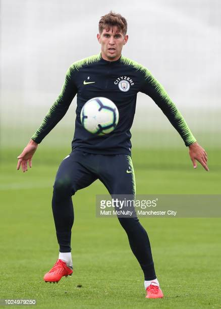 Manchester City's John Stones during training at Manchester City Football Academy on August 28 2018 in Manchester England