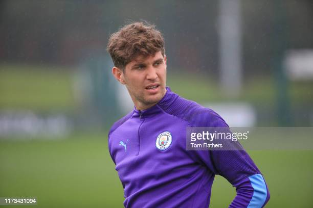 Manchester City's John Stones in action during training at Manchester City Football Academy on September 09 2019 in Manchester England