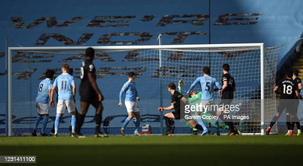 Manchester City's John Stones scores their side's second goal of the game during the Premier League match at the Etihad Stadium, Manchester. Picture...