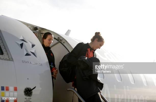Manchester City's Karen Bardsley arrives in Aalborg airport