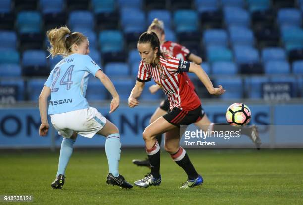 Manchester City's Keira Walsh in action during the WSL fixture between Manchester City Women and Sunderland Ladies at The Academy Stadium on April 18...