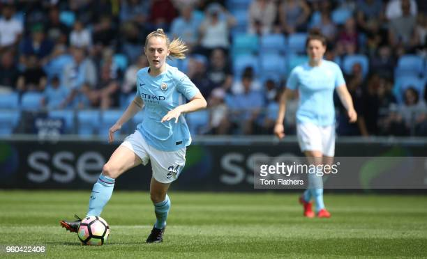Manchester City's Keira Walsh in action during the WSL match between Manchester City Women and Everton Ladies at The Academy Stadium on May 20 2018...