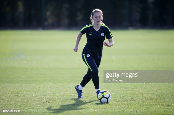 Manchester City's Keira Walsh in action during training at Manchester City Football Academy on October 31 2018 in Manchester England