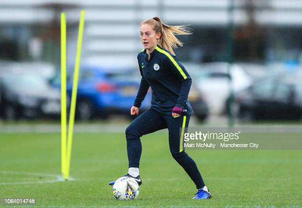 Manchester City's Keira Walsh takes part in a passing drill during the training session at Manchester City Football Academy on November 20 2018 in...