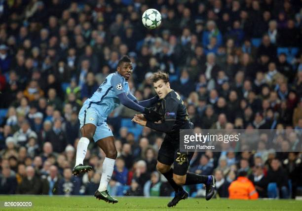 Manchester City's Kelechi Iheanacho in action against Celtic's Erik Sviatchenko