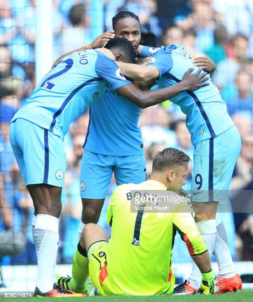 Manchester City's Kelechi Iheanacho Manchester City's Raheem Sterling and Manchester City's Nolito celebrate in front of AFC Bournemouth goalkeeper...