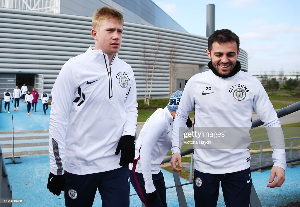 Manchester City's Kevin de Bruyne and Bernardo Silva during the training session at Manchester City Football Academy on February 23, 2018 in Manchester, England.