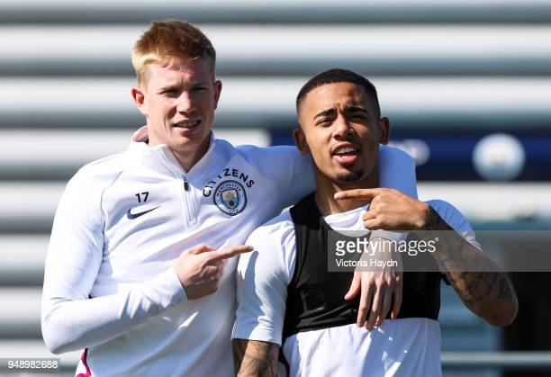 Manchester City's Kevin de Bruyne and Gabriel Jesus during the training session at Manchester City Football Academy on April 19 2018 in Manchester...
