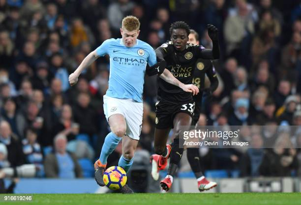 Manchester City's Kevin De Bruyne and Leicester City's Fousseni Diabate battle for the ball during the Premier League match at the Etihad Stadium...